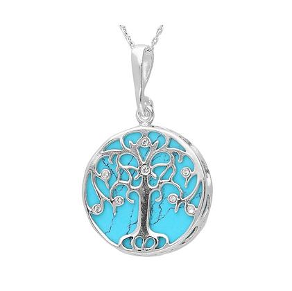TREE DESIGNER AMBER CRYSTAL SILVER PENDANT