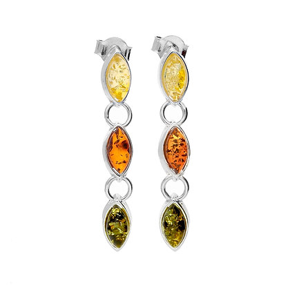 DESIGNER MARQUISE AMBER DROP SILVER EARRINGS