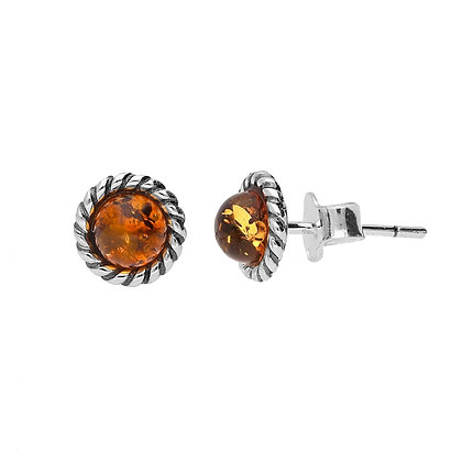 AMBER ROUND OXIDISED SILVER STUD EARRINGS