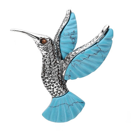 TURQUOISE HUMMINGBIRD BROOCH OXIDIZED SILVER