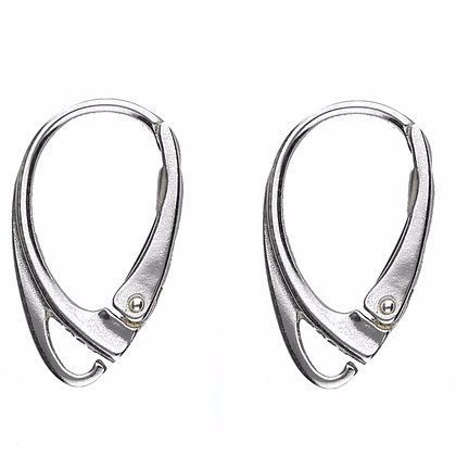 SILVER 925 LEAVERBACK EARRING WIRE HOOK 18X3mm