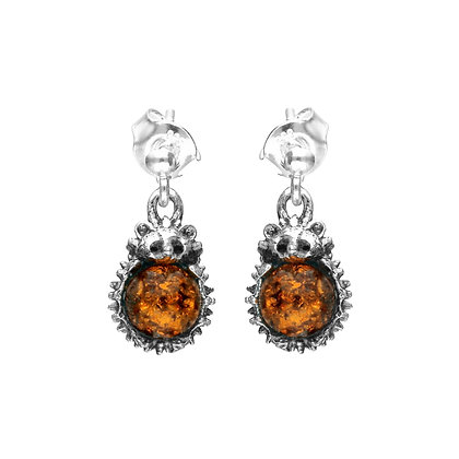 DESIGNER SILVER AMBER HEDGEHOGS EARRINGS