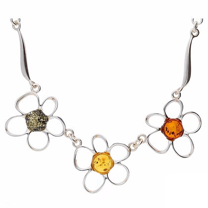 THREE FLOWER  ROUND AMBER NECKLACE MULTI COLOUR