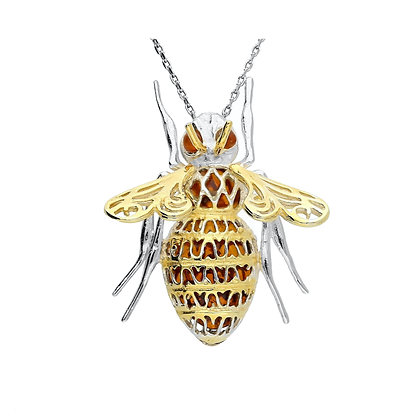 14K GOLD PLATED SILVER AMBER FLY PENDANT