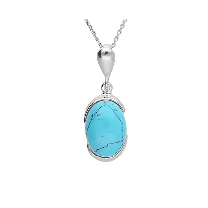 TURQUOISE OVAL SILVER PENDANT