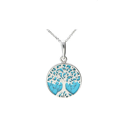 DESIGNER TURQUOISE TREE SILVER X-SMALL PENDANT