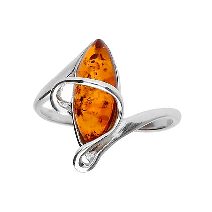 ELEGANT SILVER MARQUISE AMBER RING