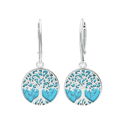 TURQUOISE DROP SILVER X-SMALL TREE EARRINGS