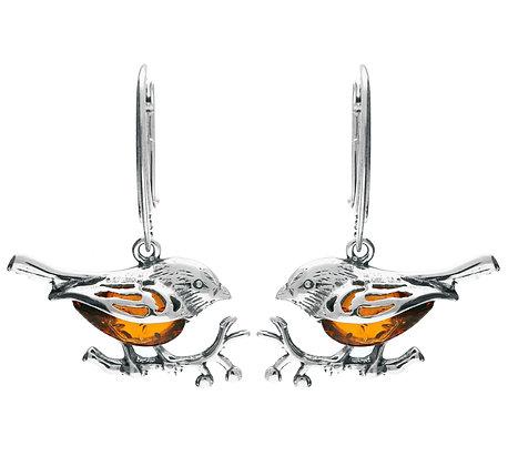 BIRD AMBER DESIGNER EARRINGS