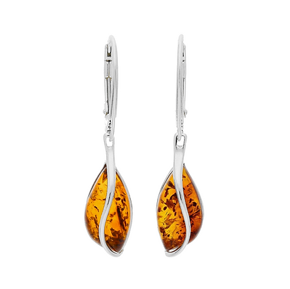 AMBER SILVER DROP EARRINGS 070101