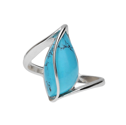 ELEGANT SILVER RING PEAR TURQUOISE 120101