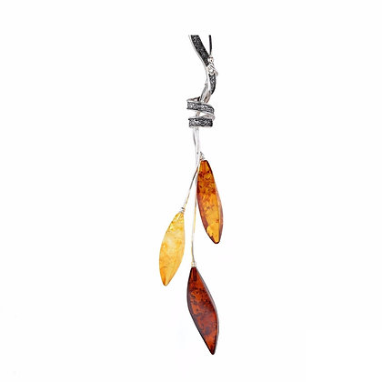 THREE COLOUR AMBER MARQUISE NECKLACE SILVER CHAIN