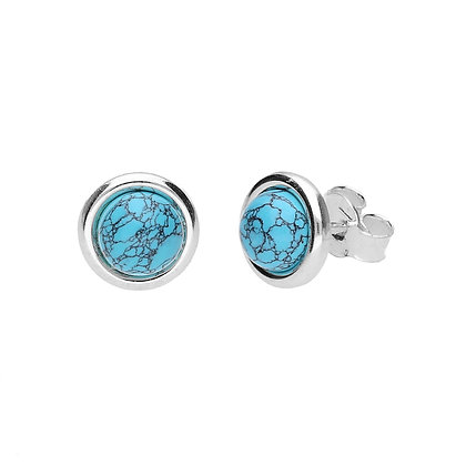 TURQUOISE STUD SILVER EARRINGS-9 mm