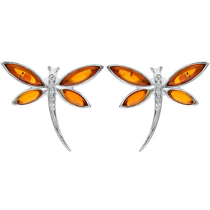 AMBER STUD SILVER DRAGONFLY EARRINGS VARIOUS COLORS
