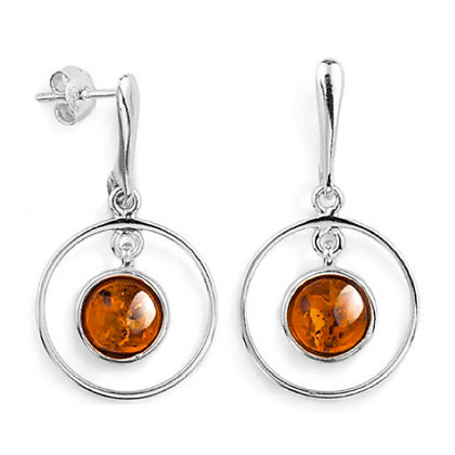 DROP ELEGANT AMBER SILVER  EARRINGS