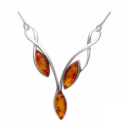 DESIGNER AMBER NECKLACE SILVER SNAKE STYLE CHAIN