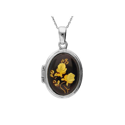 OPENING LOCKET ENGRAVED CAMEO AMBER SILVER PENDANT