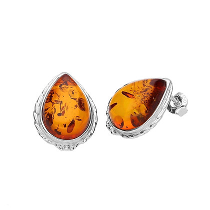 ELEGANT SILVER AMBER STUD EARRINGS