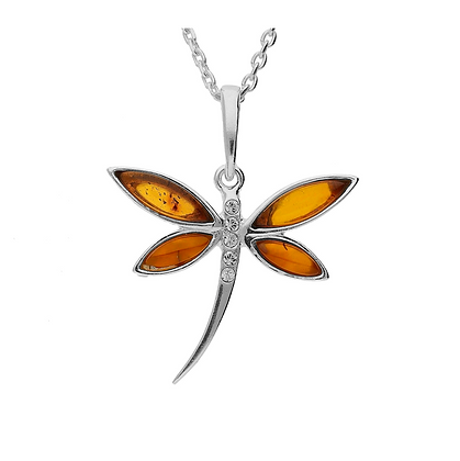 DRAGONFLY AMBER SILVER PENDANT C/Z