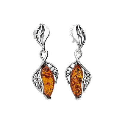 DESIGNER AMBER SILVER EARRINGS
