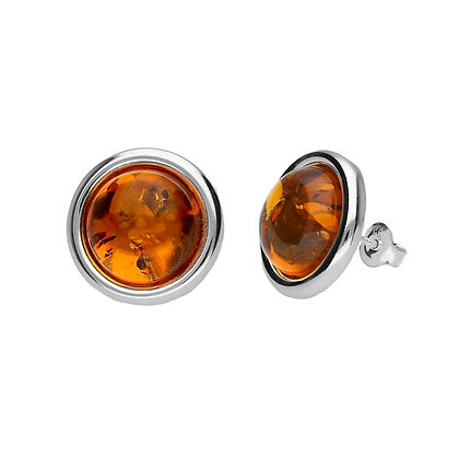 AMBER STUD ROUND EARRINGS