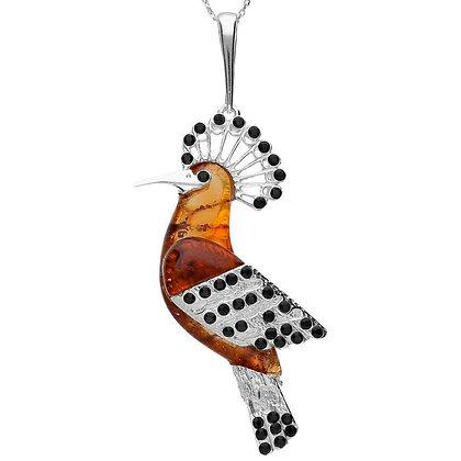 HOOPOE BIRD AMBER PENDANT SILVER