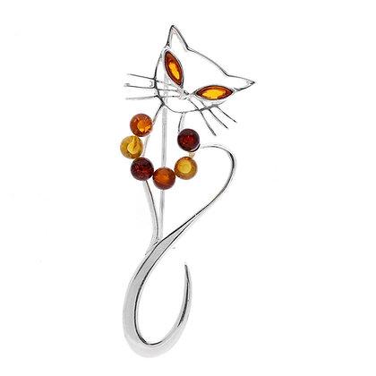 CAT SILVER BROOCH MULTI COLOUR AMBER