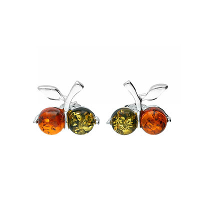MULTICOLOURED SILVER AMBER CHERRY STUD EARRINGS