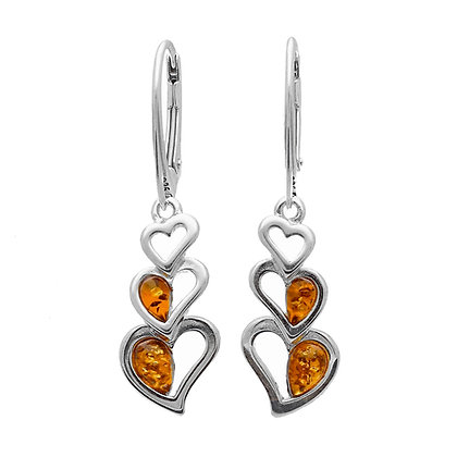DESIGNER AMBER HEART DROP SILVER EARRINGS