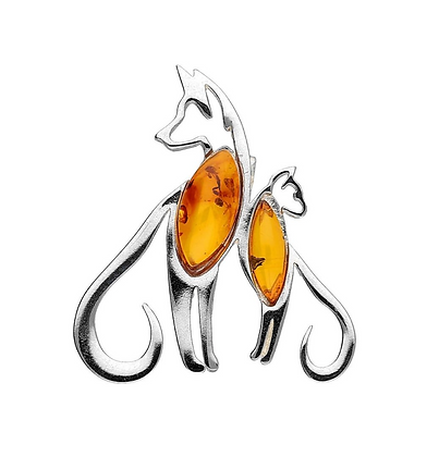 AMBER SILVER DOG & CAT PENDANT