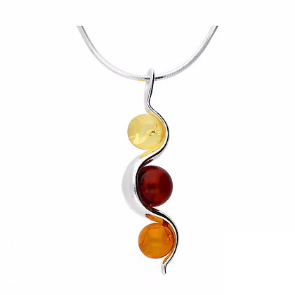 MIXED COLOR AMBER NECKLACLE SILVER CHAIN