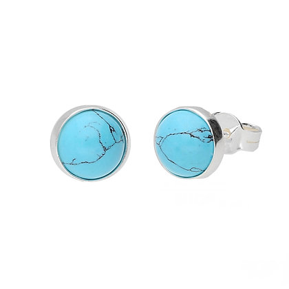 TURQUOISE PLAIN SILVER ROUND EARRINGS STUD