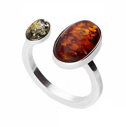ELEGANT SILVER RING OVAL AMBER ADJUSTABLE SIZE