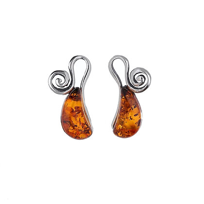 DESIGNER SILVER AMBER STUD EARRINGS