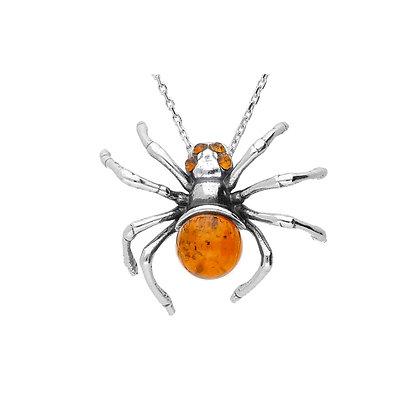 DESIGNER AMBER SPIDER OXIDISED SILVER PENDANT