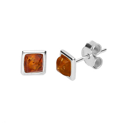 STUD SQUARE EARRINGS AMBER