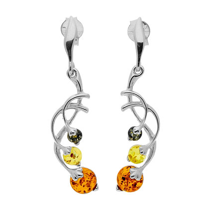 MULTI COLOUR AMBER SILVER STUD EARRINGS