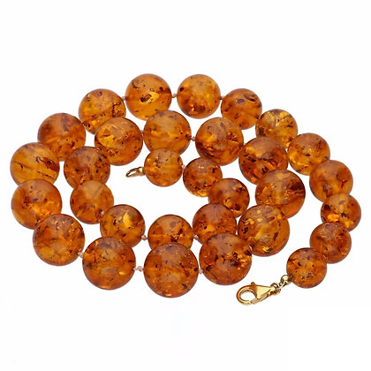 GOLD PLATED LUXURY AMBER BEADS NECKLACE