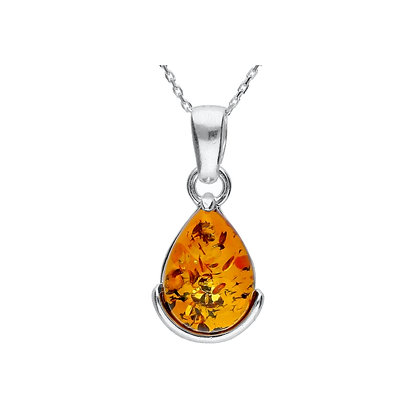 AMBER TEAR DROP PENDANT