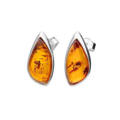 ELEGANT STUD AMBER SILVER EARRINGS