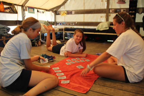 card games in the tent