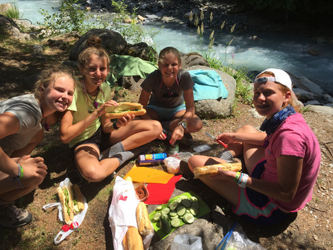 lunch by a stream
