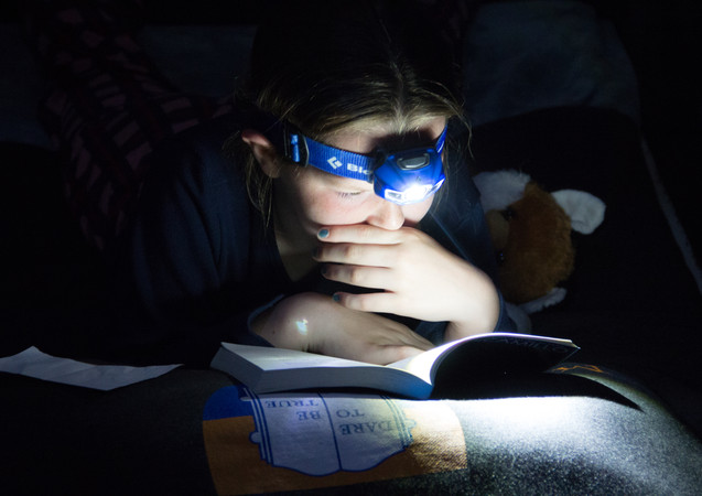 Reading by headlamp
