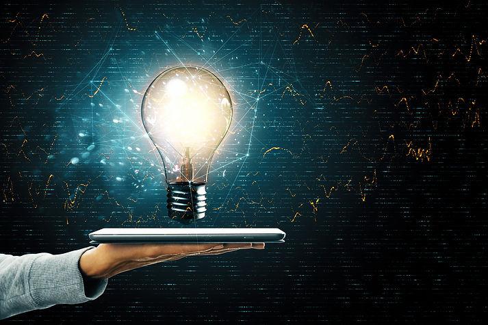 lightbulb on tablet