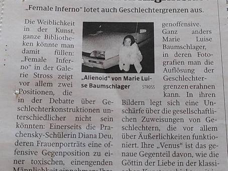 """Zeitungsartikel über unsere Ausstellung """"female inferno"""""""