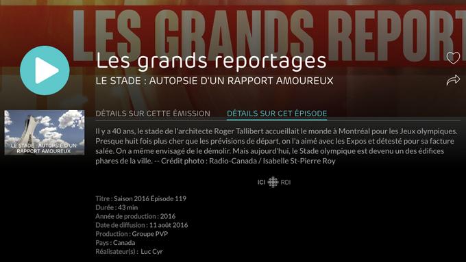 Participation à un documentaire sur le Stade Olympique de Montréal