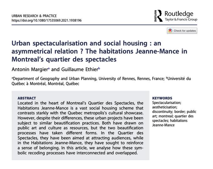 Article scientifique dans la revue Urban Research & Practice