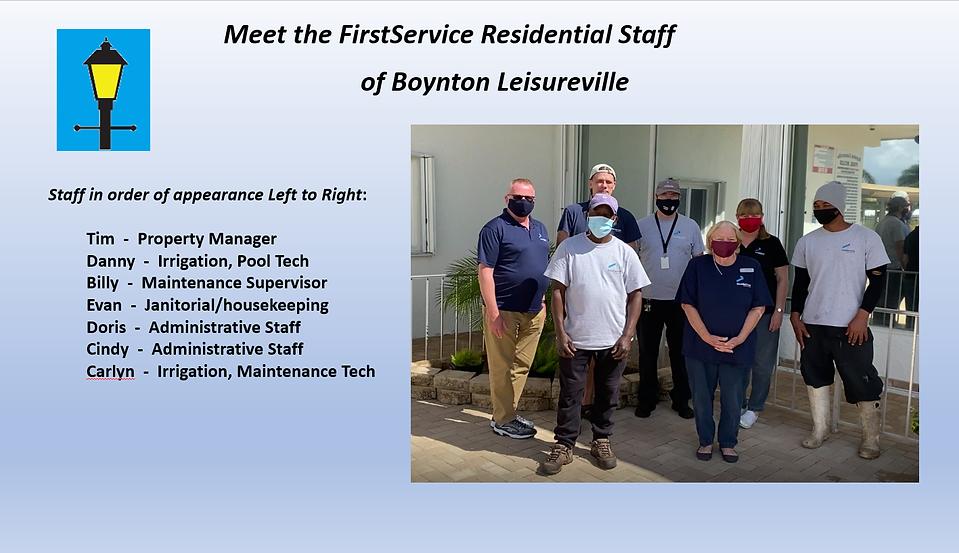 First Services Staff with job descriptio