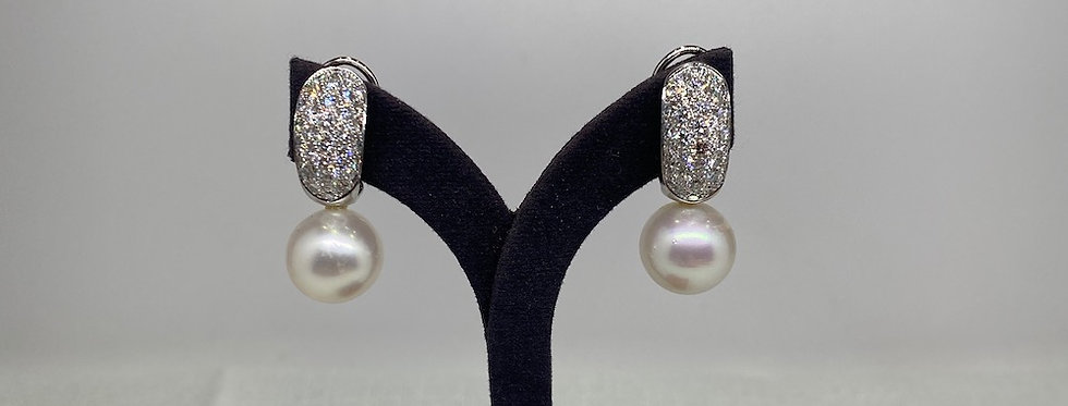 Vintage Pearl & Diamond Earrings