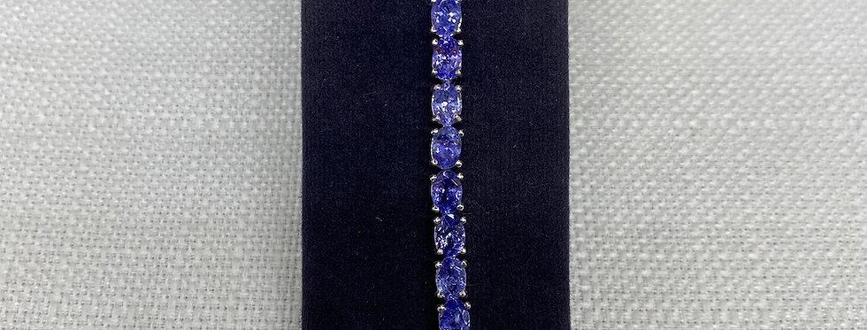Tanzanite & Silver Line Bracelet